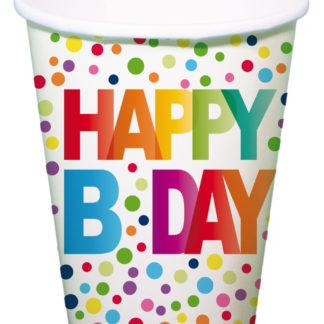 kelímky tečkované, kelímky tečky, happy birthday, kelímky duha