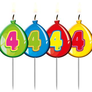 Narozeninová svíčka - číslo 4, svíčka balónek, svíčka číslo 4, svíčka dort, dortová svíčka